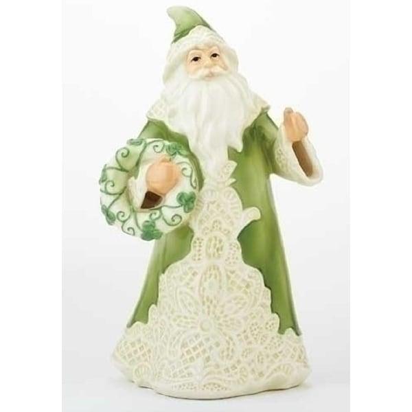 "7"" Green Irish Lace Santa Claus Porcelain Christmas Table Top Figure"