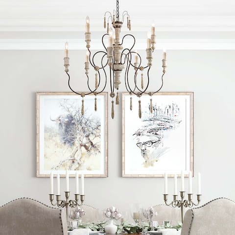 """French Country Shabby-chic 9-light Distressed Wood Chandeliers - D39"""" x H38"""