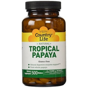 Country Life Papaya Digestive Support - 500 Chewable Wafers - Natural Digestive Enzyme Support - Whole Papaya Fruit
