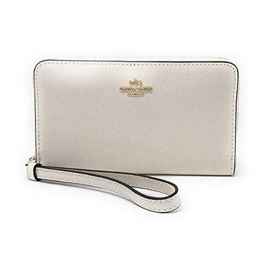 Coach F58053 Crossgrain Leather Zip Phone Wallet - Chalk