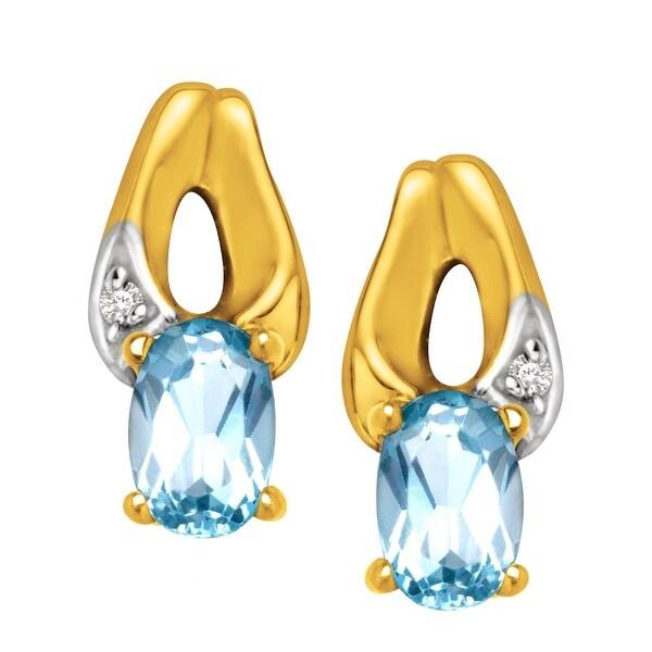 3/8 ct Aquamarine Stud Earrings in 10K Gold