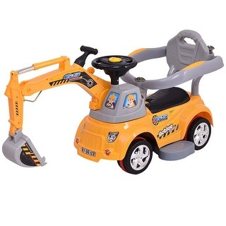 Gymax Electric Ride On Excavator Digger Sliding Car Pulling Cart w/ Remote Control - YELLOW