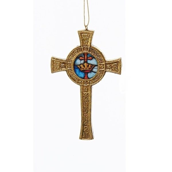 "4.5"" Decorative Gold Round Cross with Faux Stained Glass Hanging Christmas Ornament"