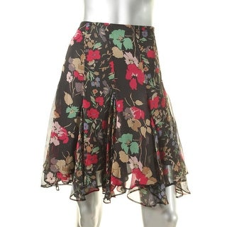 Lauren Ralph Lauren Womens Petites A-Line Skirt Chiffon Pleated