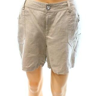 INC NEW Frappe Beige Womens Size 4 Five-Pocket Embellished Linen Shorts
