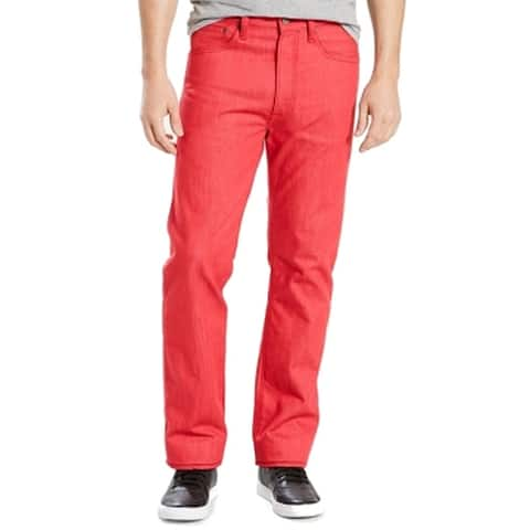 Levi's Red Men 36x32 Shrink to Fit Button Fly Straight 501 Jeans