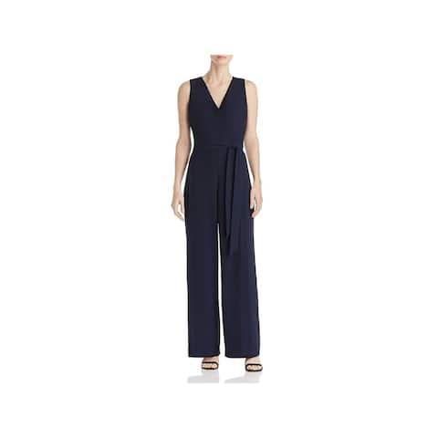 Donna Karan Womens Jumpsuit Wide Leg V-Neck - Midnight - 4
