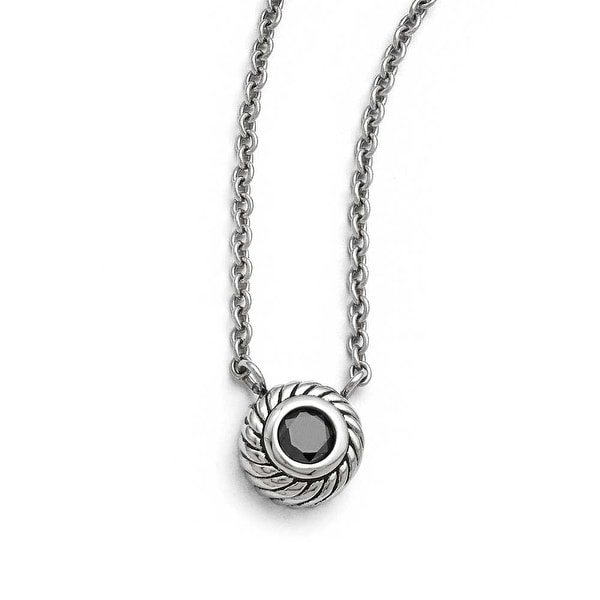 Chisel Stainless Steel Polished Black CZ Circle with 1in ext. Necklace - 18 in