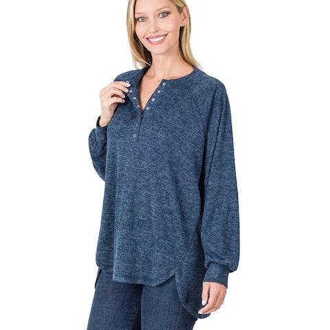 JED Women's Melange Button Up Long Sleeve Sweater Top