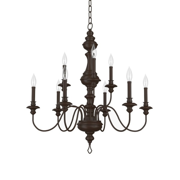 """Park Harbor PHHL6319 Cardiff 32"""" Wide 9-Light 2 Tier Shaded Style Chandelier with Candle Style Arms - painted bronze"""