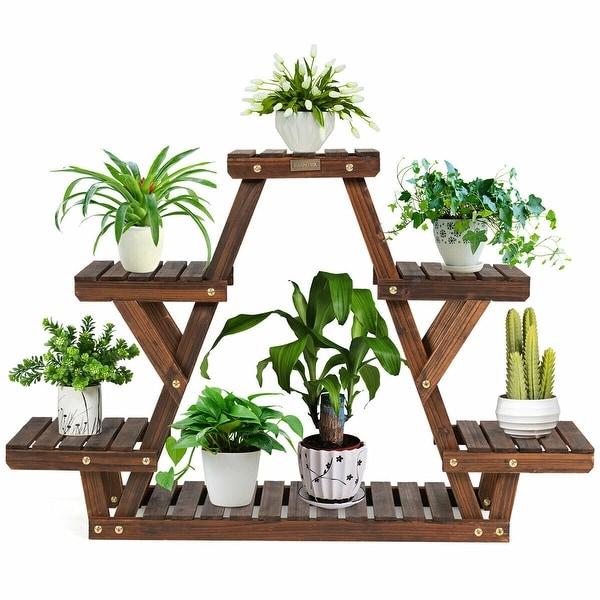 Gymax Wood Plant Stand Triangular Shelf 6 Pots Flower Shelf Storage - 32'' x 10'' x 30'' (L x W x H). Opens flyout.