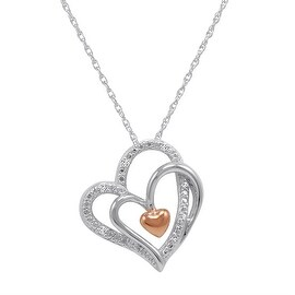 Amanda Rose Sterling Silver Triple Heart in Heart Diamond Pendant-Necklace