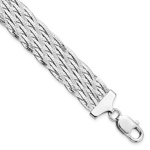 Sterling Silver High Polished 14.5mm Braided Bracelet by Versil