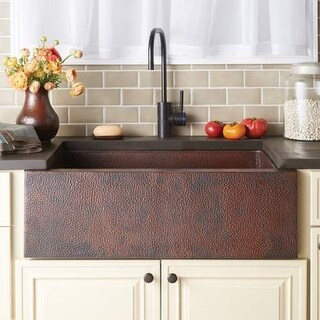 "Native Trails CPK92 Pinnacle 33"" Single Basin 16 Gauge Hammered Copper Kitchen S"