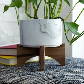"""Link to 5"""" Marble finish Ceramic on Wood Stand Similar Items in Planters, Hangers & Stands"""