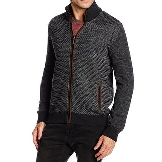 BUGATTI NEW Gray Mens Size Small S Suede-Trim Cardigan Wool Sweater