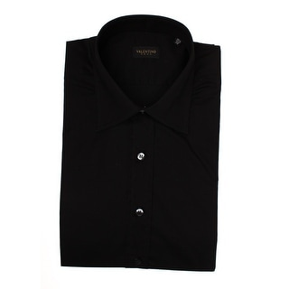 Valentino Men's Spread Collar Stretch Cotton Dress Shirt Black