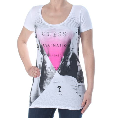 GUESS Womens White Animal Print Guess Fascination Cap Sleeve Scoop Neck Top Size: S