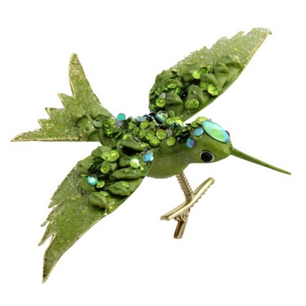 """Club Pack of 12 Bright Green Jeweled Bird Clip-On Christmas Ornaments 7"""""""