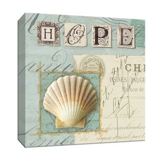 """PTM Images 9-152309  PTM Canvas Collection 12"""" x 12"""" - """"Beach Journal IV"""" Giclee Shells Art Print on Canvas"""