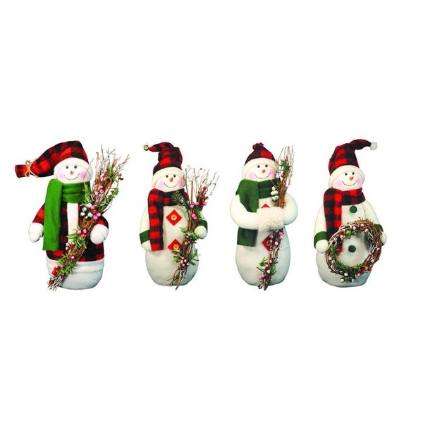 "4 Country Rustic Plush Snowman Christmas Figures with Plaid Scarves and Hats 12"" - WHITE"