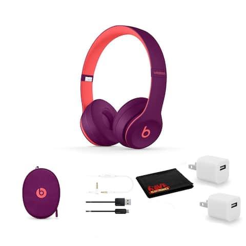 Beats Solo3 Wireless Headphones (Magenta) - Kit with USB Adapter Cube