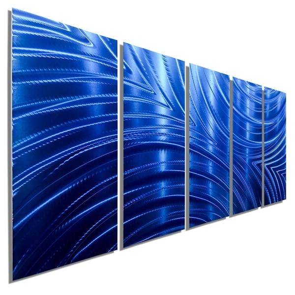 Statements2000 Blue Abstract Modern Metal Wall Art Panels by Jon Allen - Blue Synchronicity
