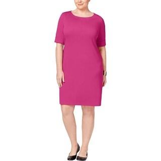 Karen Scott Womens Plus T-Shirt Dress Cuffed Elbow Sleeves (4 options available)