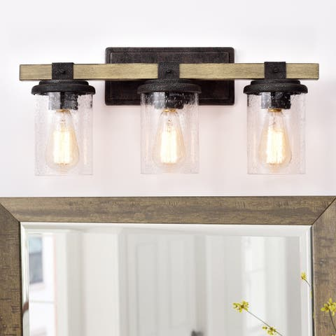 3-light Woodgrain and Black Textured Finish Vanity Light Wall Sconce with Clear Seeded Glass - Woodgrain and Black Textured