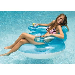 """43"""" Water Sports Transparent Blue and White Inflatable Swimming Pool Bubble Chair - CLEAR"""