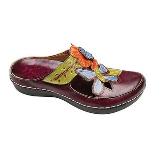 Women's Clog Sandals - Hand Painted Butterfly Leather Uppers - Plum