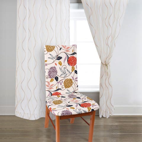 Unique Bargains Flower Pattern Stretch Flower 7 Dining Chair Cover - Multi-Color