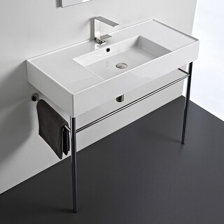 "Nameeks Scarabeo 5124-CON  Scarabeo Teorema 2.0 40"" Rectangular Ceramic Console Bathroom Sink with Overflow"