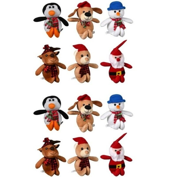 Christmas House Cuddly 9 inch Plush Christmas Friends Reindeer, Santa, Snowmen,Bear, Monkeys, and Penguins. Opens flyout.
