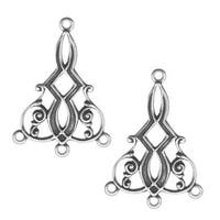 Antiqued Silver Plated Deco Scroll 3 Ring Chandelier Earring Drops (2)