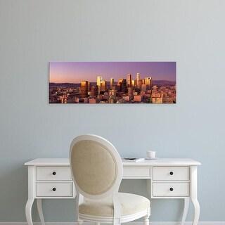 Easy Art Prints Panoramic Images's 'Skyline At Sunset, Los Angeles, California, USA' Premium Canvas Art
