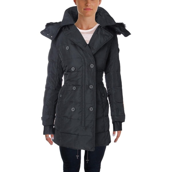 Nanette Lepore Womens Pea Coat Down Faux Fur