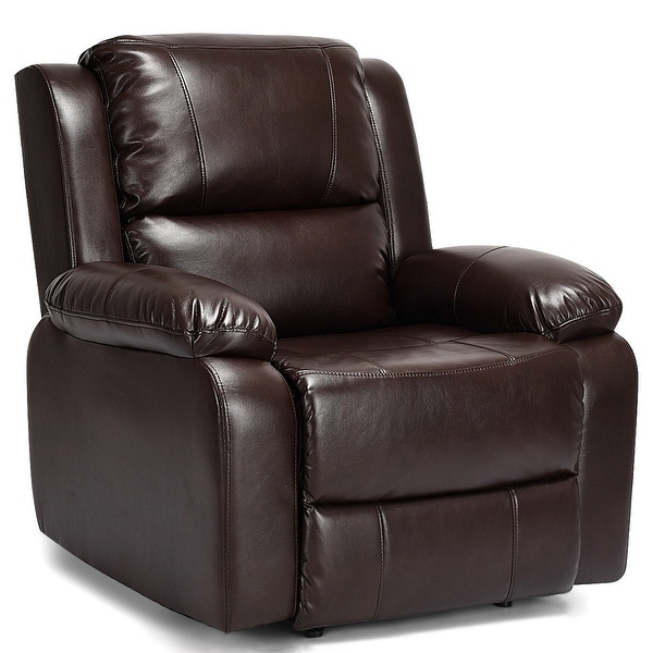 Shop Costway Manual Recliner Sofa Lounge Chair PU Leather Home ...