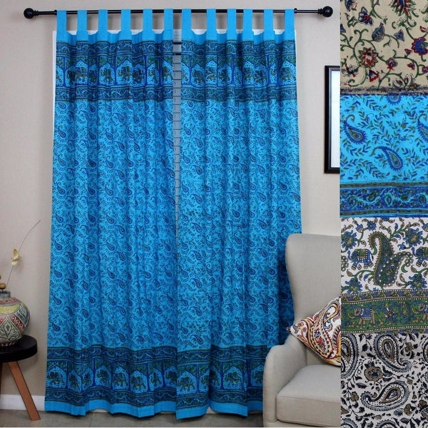 Handmade Paisley Elephant 100% Cotton Tab Top Curtain Drape Panel Blue Green Gray 44x88 - 44 x 88