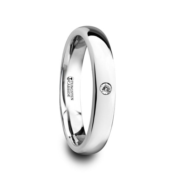 THORSTEN - GALE Polished and Domed Tungsten Carbide Wedding Ring with White Diamond - 4mm