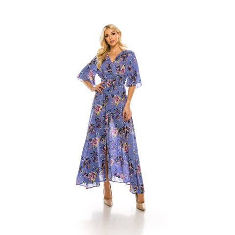 Haute Edition Button Down Elbow Sleeve Floral Maxi Dress with Plus