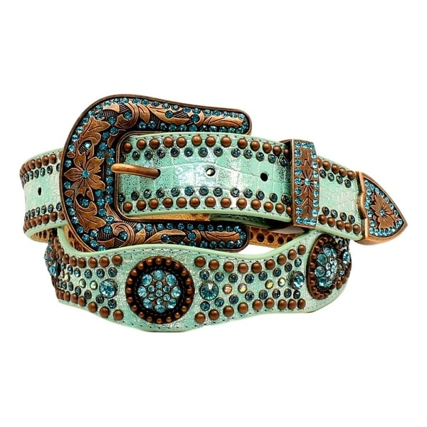 Nocona Western Belt Womens Rhinestones Concho Light Blue