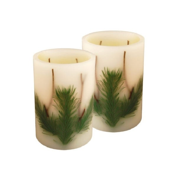 "Set of 2 White Christmas Pine Needle Battery Operated LED Flameless Pillar Candles 6"" - N/A"