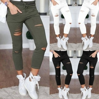 Cut High Trousers Skinny High Waist Stretch Ripped Slim Pencil Pants