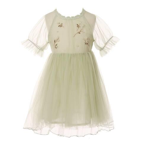 Girls Sage Applique Detail Round Neckline Cotton Lining Dress