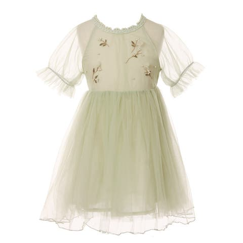 Little Girls Sage Applique Detail Round Neckline Cotton Lining Dress