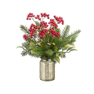 "17.5"" Artificial Berries and Pine Tree Needles Winter Floral Arrangement - Red"