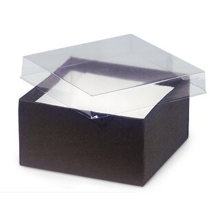 "Pack of 100, Solid 3.5 x 3.5 x 2"" Clear Lid Jewelry Box Chocolate Base"