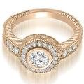 0.90 cttw. 14K Rose Gold Antique Milgrain Halo Bridal Set - Thumbnail 2