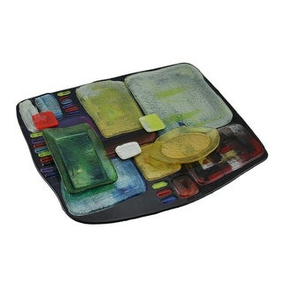 Abstract Multicolored Fused Art Glass Fruit and Cheese Platter 16 In. By 13 In.